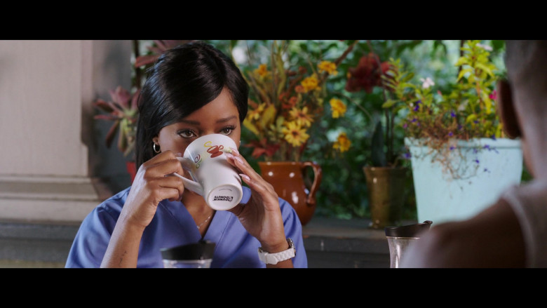 Keke Palmer Holding Dunkin' Donuts Mug in 2 Minutes of Fame (2020) Movie