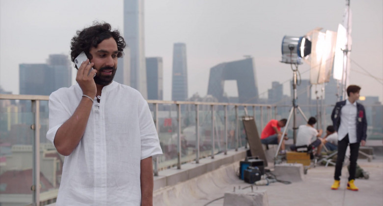 Kunal Nayyar Wearing White Shirt and Using Apple iPhone in Think Like a Dog (2020)
