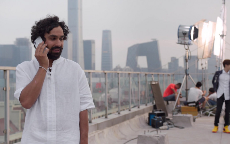Kunal Nayyar Wearing White Shirt and Using Apple iPhone in Think Like a Dog (2020)