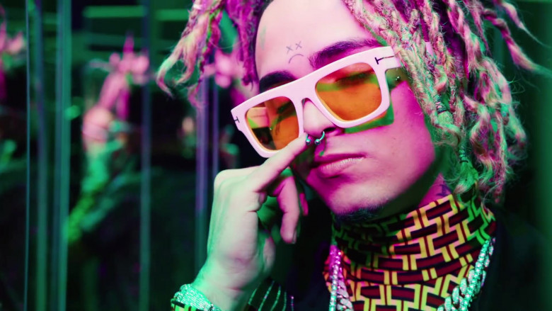 Lil Pump Wearing Tom Ford White Frame Sunglasses in Be Like Me Official Music Video (1)