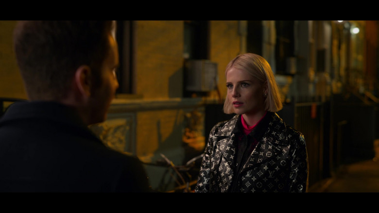 Lucy Boynton as Astrid Sloan Wears Louis Vuitton LV Monogram Leather Biker Jacket Outfit in The Politician Season 2 TV Show (3)