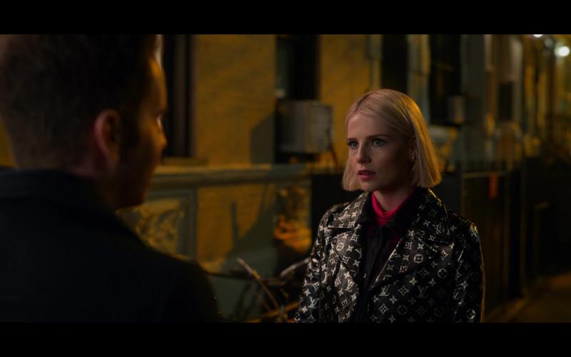 Lucy Boynton as Astrid Sloan Wears Louis Vuitton LV Monogram Leather Biker Jacket Outfit in The Politician Season 2 TV Show (3)