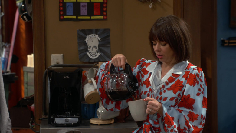 Natasha Leggero Wearing Floral Print Bathrobe Outfit and Using Mr. Coffee Maker in Broke S01E10 TV Show