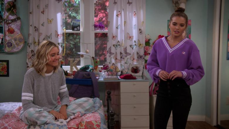 Paris Berelc Wears Champion LIFE Women's Yarn Dye Stripe Rib Cropped V-Neck Sweatshirt in Alexa & Katie S04E04 TV Show (