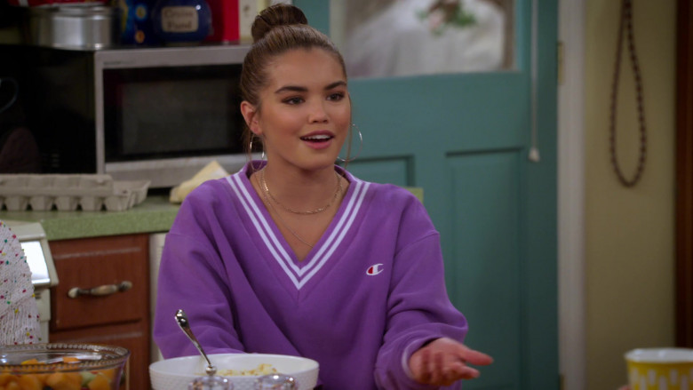 Paris Berelc Wears Champion LIFE Women's Yarn Dye Stripe Rib Cropped V-Neck Sweatshirt in Alexa & Katie S04E04 TV Show ( (4)