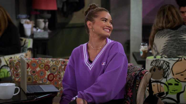 Paris Berelc Wears Champion LIFE Women's Yarn Dye Stripe Rib Cropped V-Neck Sweatshirt in Alexa & Katie S04E04 TV Show ( (8)