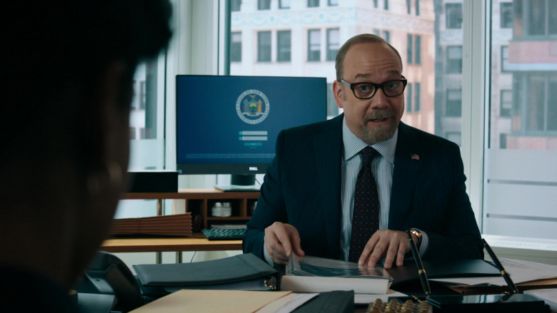 Paul Giamatti as Charles 'Chuck' Rhoades, Jr. Using Dell Monitor in Billions S05E06 TV Show (1)