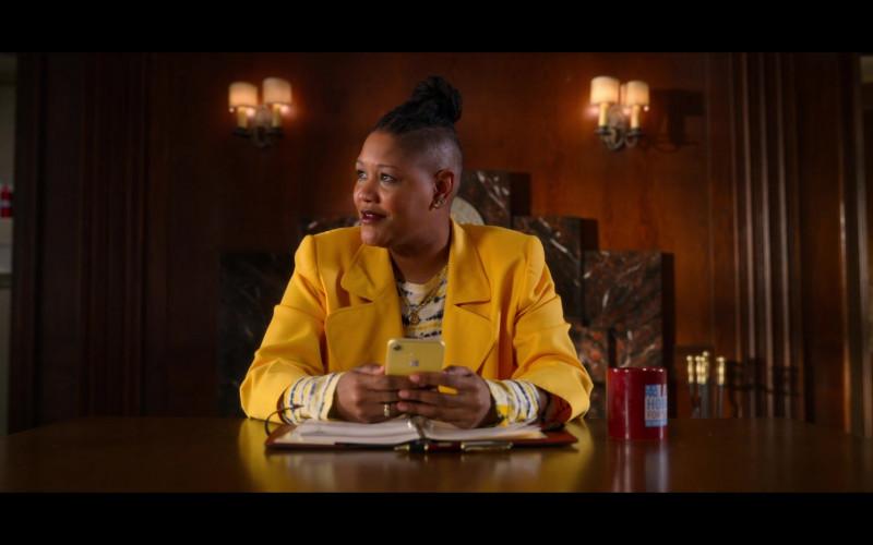 Rahne Jones as Skye Leighton Using Apple iPhone Yellow Smartphone in The Politician Season 2 TV Show