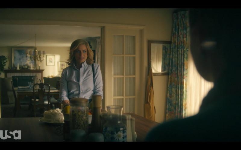 Ralph Lauren Blue Button Down Shirt Worn by Amanda Peet as Betty in Dirty John S02E04