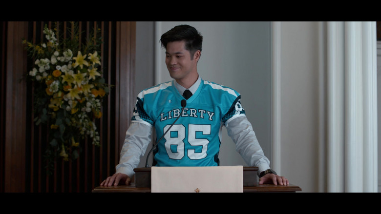 Ross Butler as Zach Wearing Champion Jersey Outfit in 13 Reasons Why S04E10 TV Series (1)
