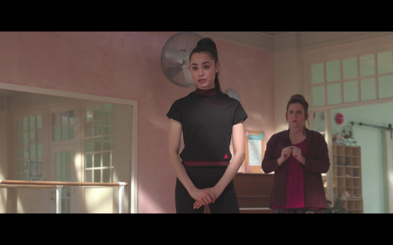 Sofia Carson Wears Adidas Black Sports T-Shirt Outfit in Feel the Beat Movie – 2020 (1)