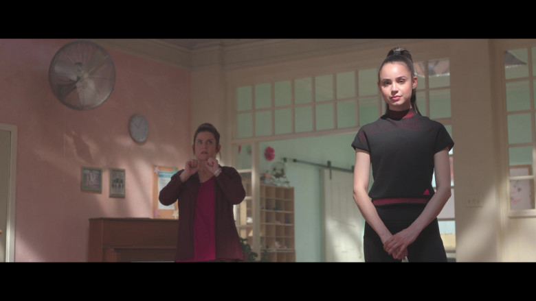 Sofia Carson Wears Adidas Black Sports T-Shirt Outfit in Feel the Beat Movie – 2020 (2)