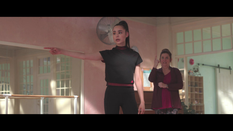 Sofia Carson Wears Adidas Black Sports T-Shirt Outfit in Feel the Beat Movie – 2020 (3)