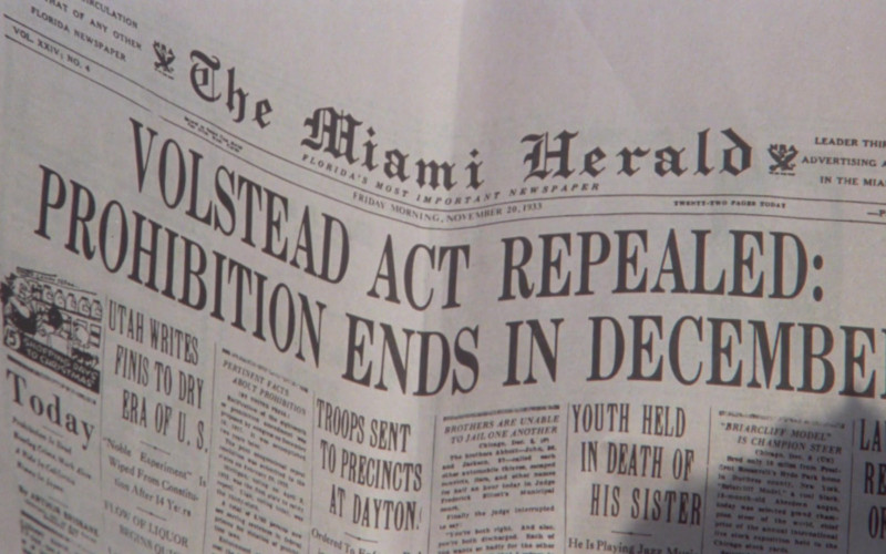 The Miami Herald Newspaper in Once Upon a Time in America (1984)