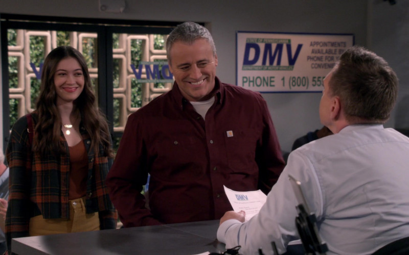 White Tee & Carhartt Long Sleeve Shirt Worn by Matt LeBlanc as Adam in Man with a Plan Season S04E12 TV Show (1)