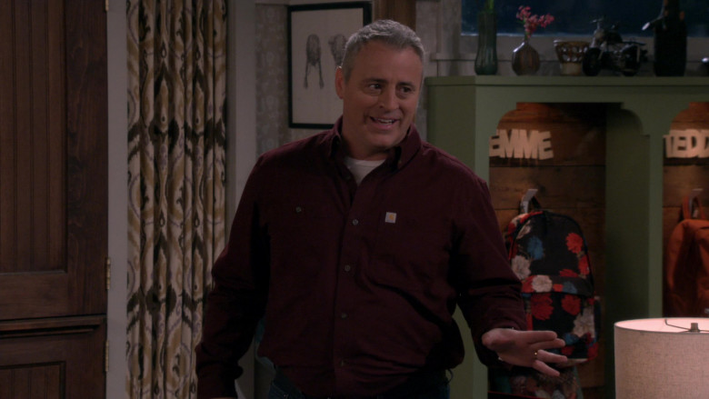 White Tee & Carhartt Long Sleeve Shirt Worn by Matt LeBlanc as Adam in Man with a Plan Season S04E12 TV Show (4)