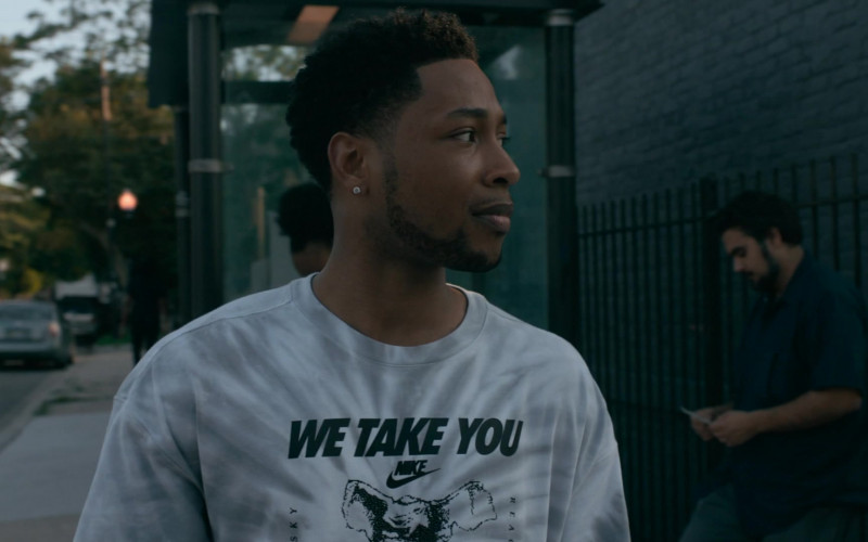 Actor Wears Nike Gray Tie-dyed Graphic 'We Take You Higher' T-shirt