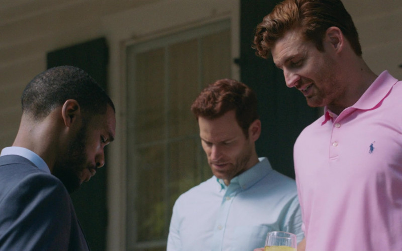 Actors Wearing Ralph Lauren Men's Pink Polo Shirts in P-Valley S01E02 (2)