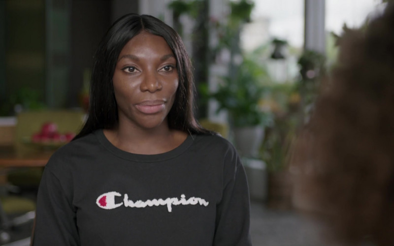 British Actress Michaela Coel Wears Champion Women's Cropped Black Sweatshirt Outfit in I May Destroy You Season 1 TV Show (3)