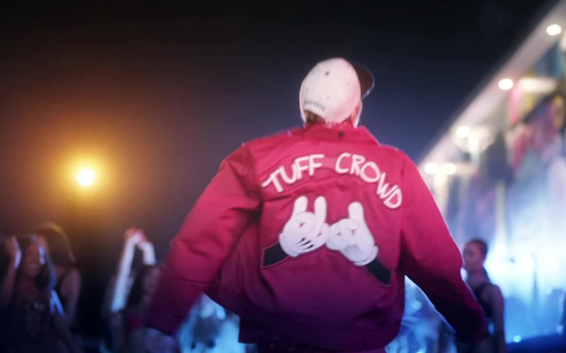 Chris Brown Wears Tuff Crowd Red Jacket Outfit in 'Go Crazy' Music Video