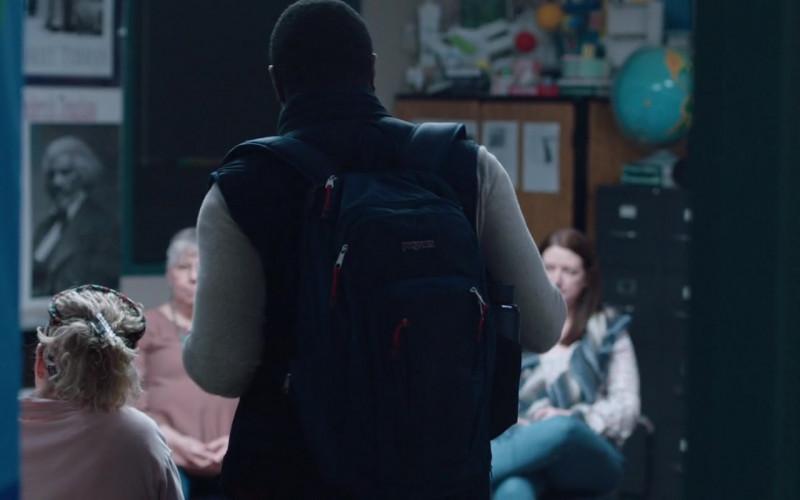 JanSport Blue Backpack of Sam Richardson in Hooking Up (2020)