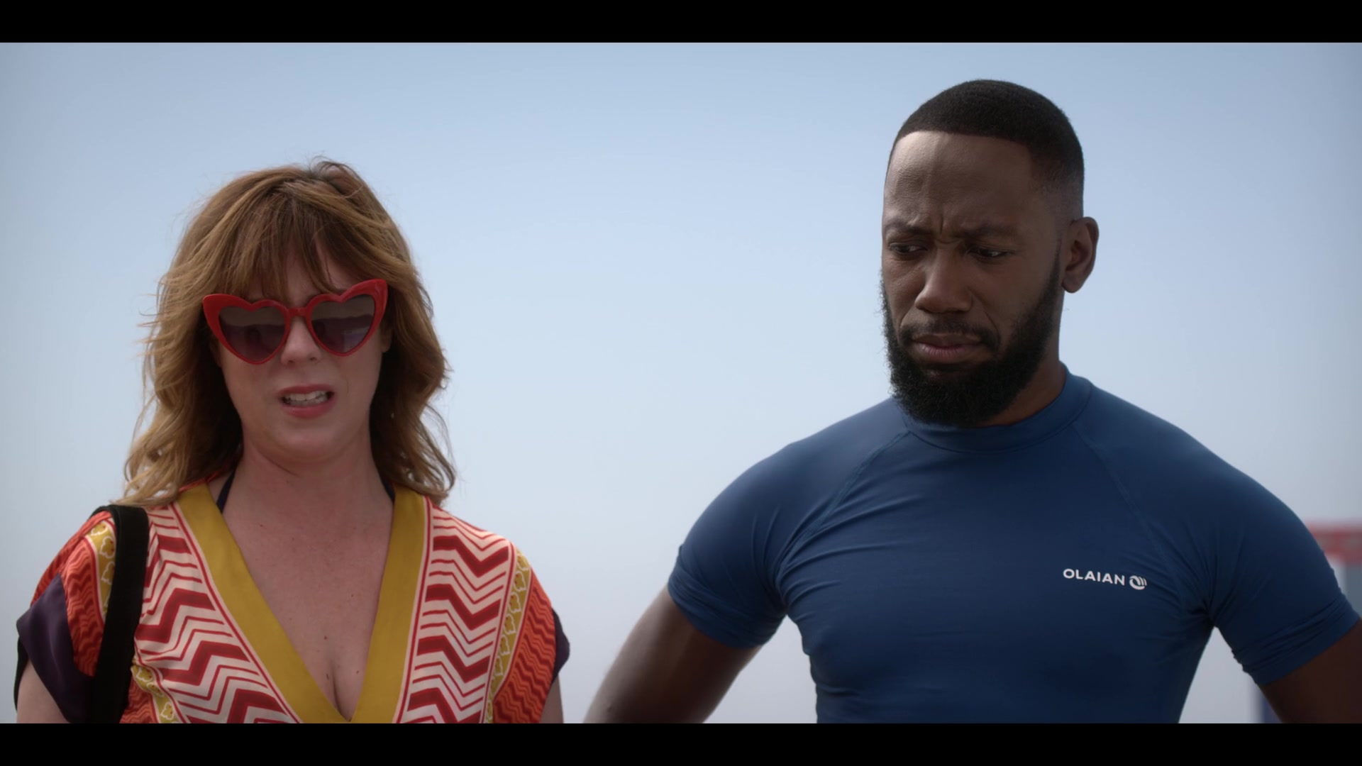 Olaian Blue T Shirt Worn By Lamorne Morris In Desperados 2020