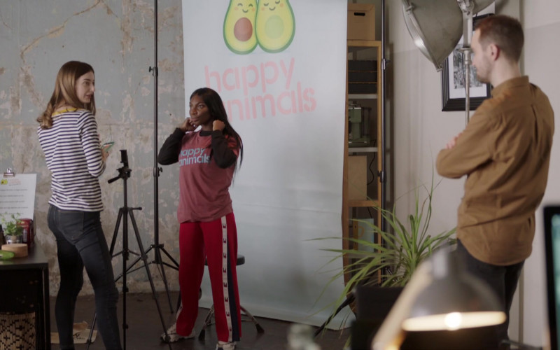Michaela Coel Wears Tommy Hilfiger Red Fashion Outfit Flare Pants in I May Destroy You S01E07 TV Series