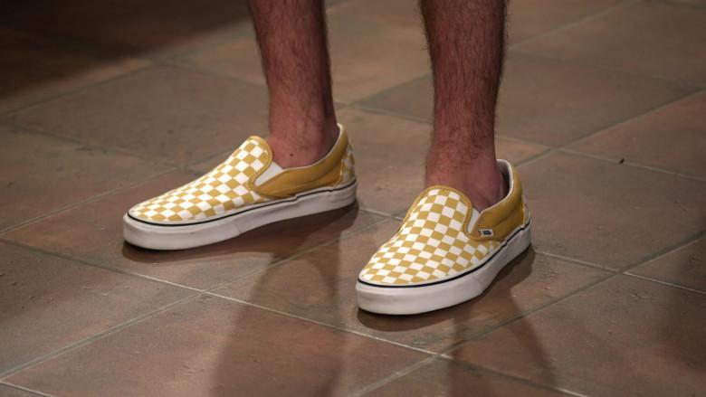 Reed Horstmann as Stick Wears Vans Classic Slip-On Checkerboard Ochre & White Sneakers (1)