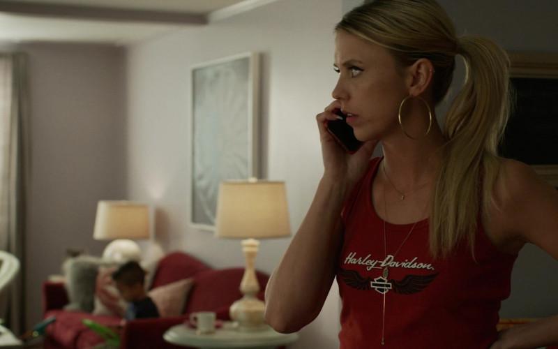 Riley Voelkel as Renee Segna Wears Harley-Davidson Women's Red T-Shirt Outfit in Hightown TV Series (1)