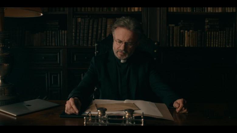 Tristan Ulloa as Father Vincent Using Apple MacBook Laptop in Warrior Nun Season 1 TV Show (1)