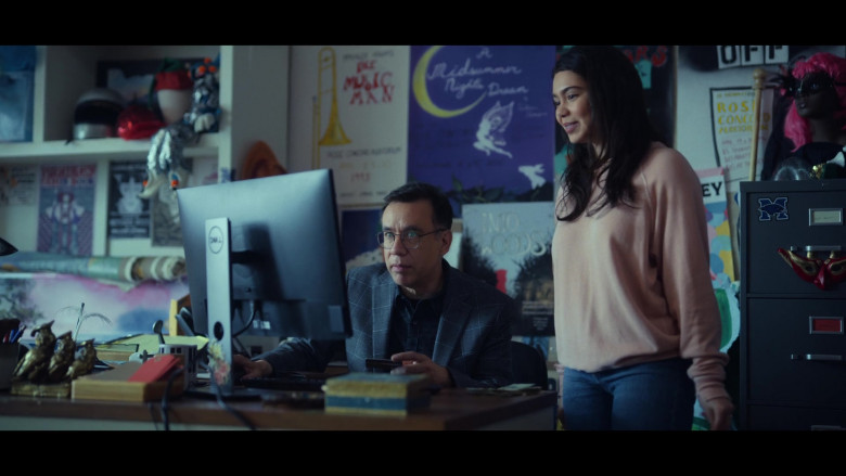 Actor Fred Armisen as Mr. Franks Using Dell Computer Monitor in All Together Now Movie by Netflix (1)