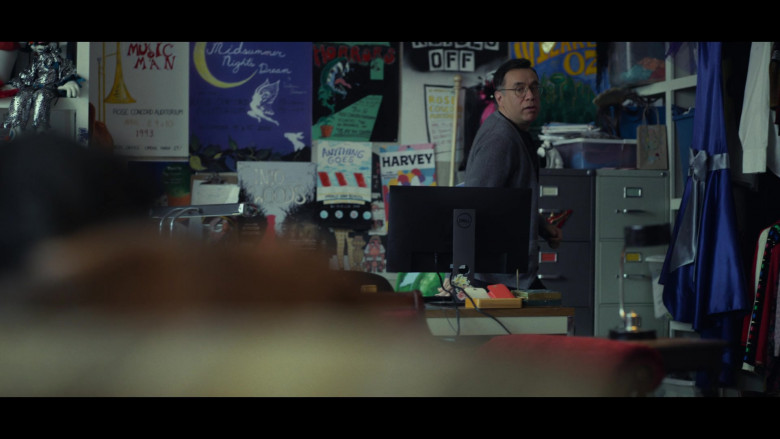 Actor Fred Armisen as Mr. Franks Using Dell Computer Monitor in All Together Now Movie by Netflix (2)