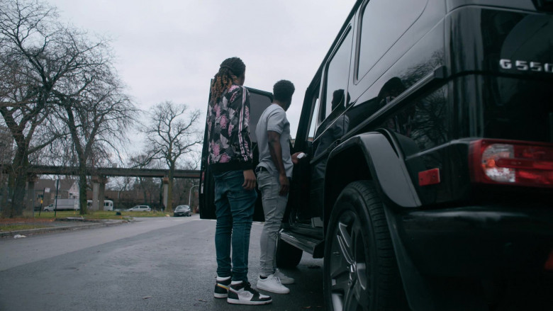Actor Wears Jordan 1 Retro High Defiant White Black Gym Red Sneakers by Nike in The Chi S03E09
