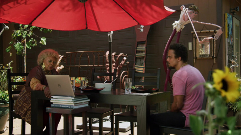 Actress L. Scott Caldwell Using Dell Laptop in Love in the Time of Corona Episode 3 TV Show (3)