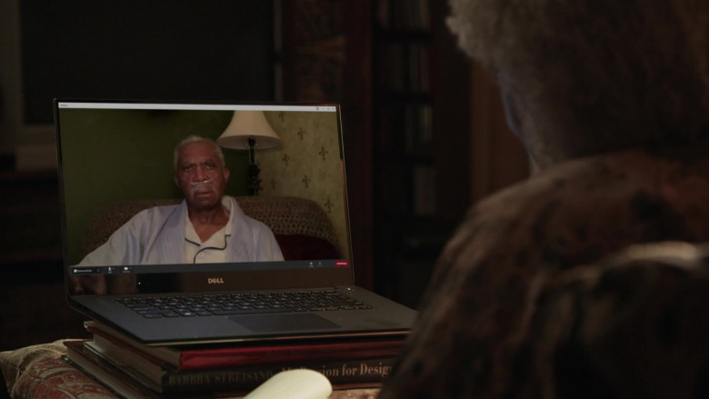 Actress L. Scott Caldwell Using Dell Laptop in Love in the Time of Corona Episode 3 TV Show (5)