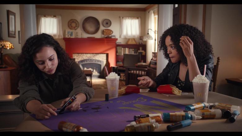 Actresses Kiana Madeira as Moe Truax & Quintessa Swindell Enjoying McDonald's Drinks and Fries in Trinkets S02E05 TV Show (2)