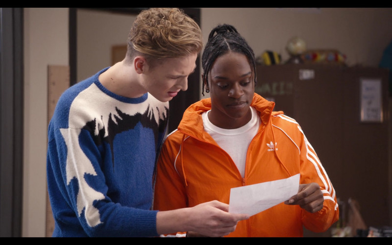 Adidas Men's Windbreaker Jacket Outfit Worn by Austin Crute as Marquise in Trinkets S02E10 (1)