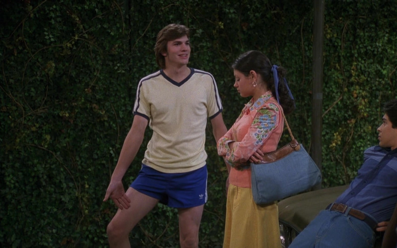 Adidas Shorts Sports and White Tee Outfit of Ashton Kutcher as Michael in That '70s Show Season 4 Episode 15