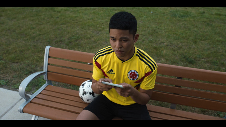 Adidas Yellow Sports Tee and Soccer Ball of Neil Robles in Work It Netflix Film