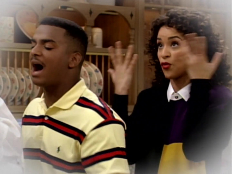 Alfonso Ribeiro as Carlton Banks Wears Ralph Lauren Yellow Polo Shirt With Black-Red Stripes
