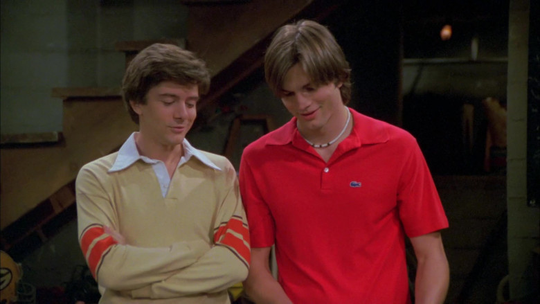 Ashton Kutcher as Michael Wearing Lacoste Red Short Sleeved Style Shirt Outfit in That '70s Show (1)