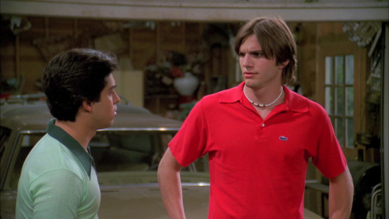 Ashton Kutcher as Michael Wearing Lacoste Red Short Sleeved Style Shirt Outfit in That '70s Show (3)