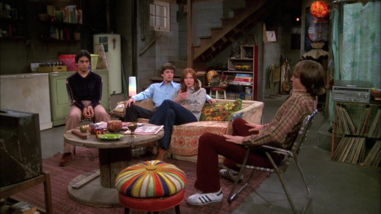 Ashton Kutcher as Michael Wears Adidas Sneakers, Red Flared Pants and Plaid Shirt Outfit in That '70s Show (1)