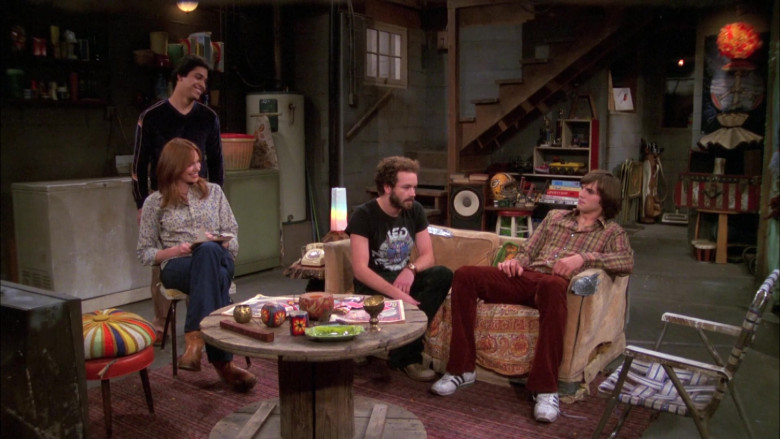 Ashton Kutcher as Michael Wears Adidas Sneakers, Red Flared Pants and Plaid Shirt Outfit in That '70s Show (4)