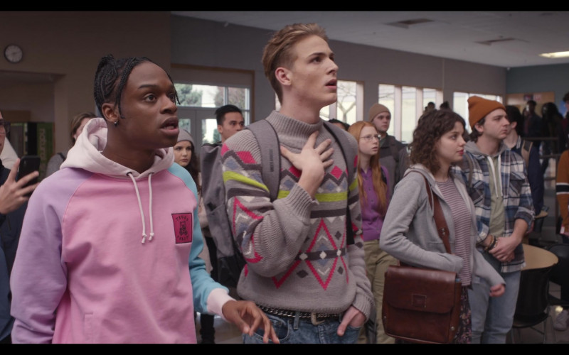 Austin Crute as Marquise Wears Teddy Fresh Color Block Hoodie Outfit in Trinkets TV Show