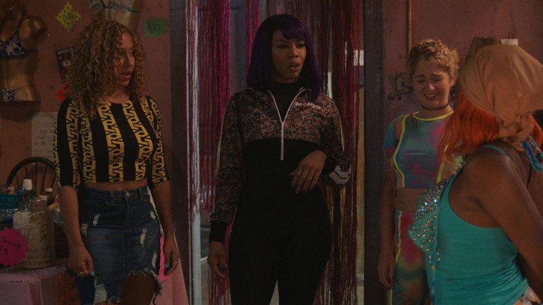 Brandee Evans as Mercedes Wears Palm Angels Women's Floral Print Jacket Outfit in P-Valley S01E07 (2)
