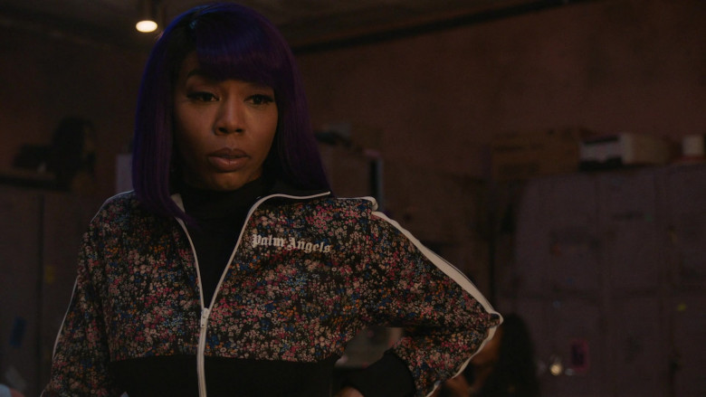 Brandee Evans as Mercedes Wears Palm Angels Women's Floral Print Jacket Outfit in P-Valley S01E07 (3)