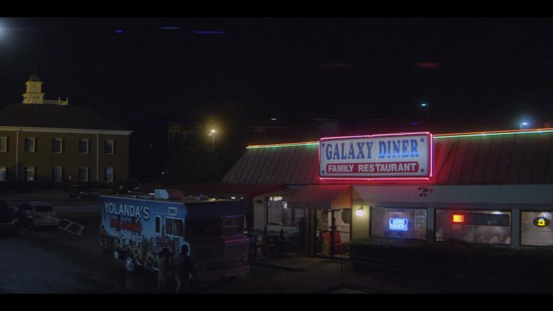 Bud Light Beer Blue Neon Sign in Teenage Bounty Hunters S01E04