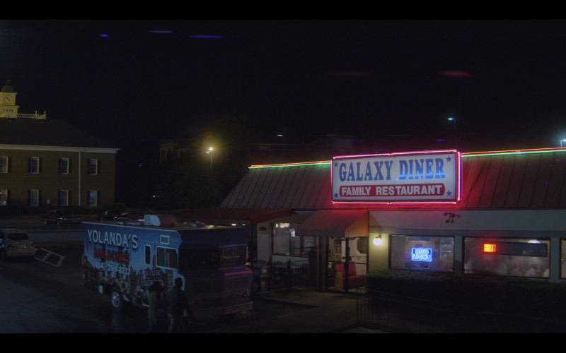 Bud Light Beer Blue Neon Sign in Teenage Bounty Hunters S01E04
