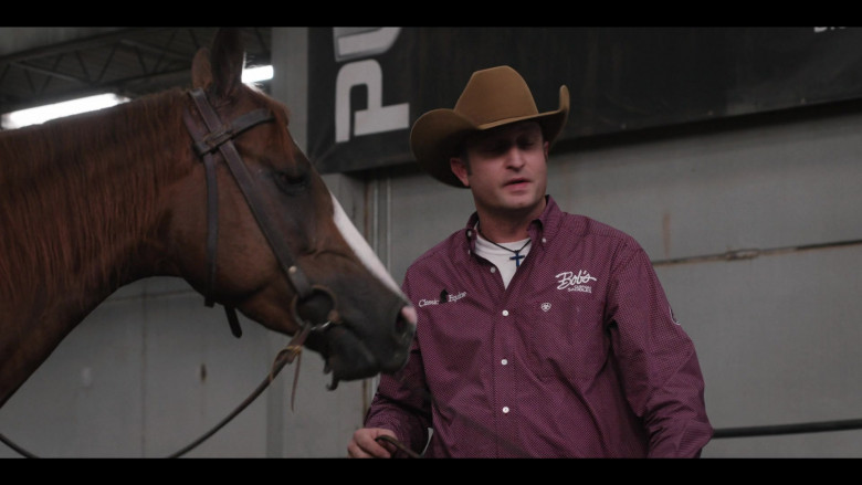 Classic Equine and Bob's Custom Saddles Logo Shirt Outfit in Yellowstone S03E08